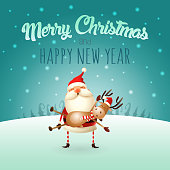 Merry Christmas and happy New Year greeting card - Santa Claus carries a Reindeer on his hands