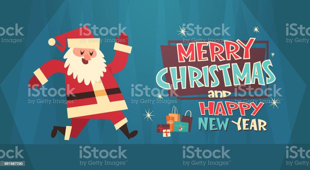 Frohe Weihnachten Und Glückliches Neues Jahr Gruß Karte Santa Mit ...