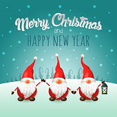Merry Christmas and happy New Year greeting card - Scandinavian gnomes on winter landscape