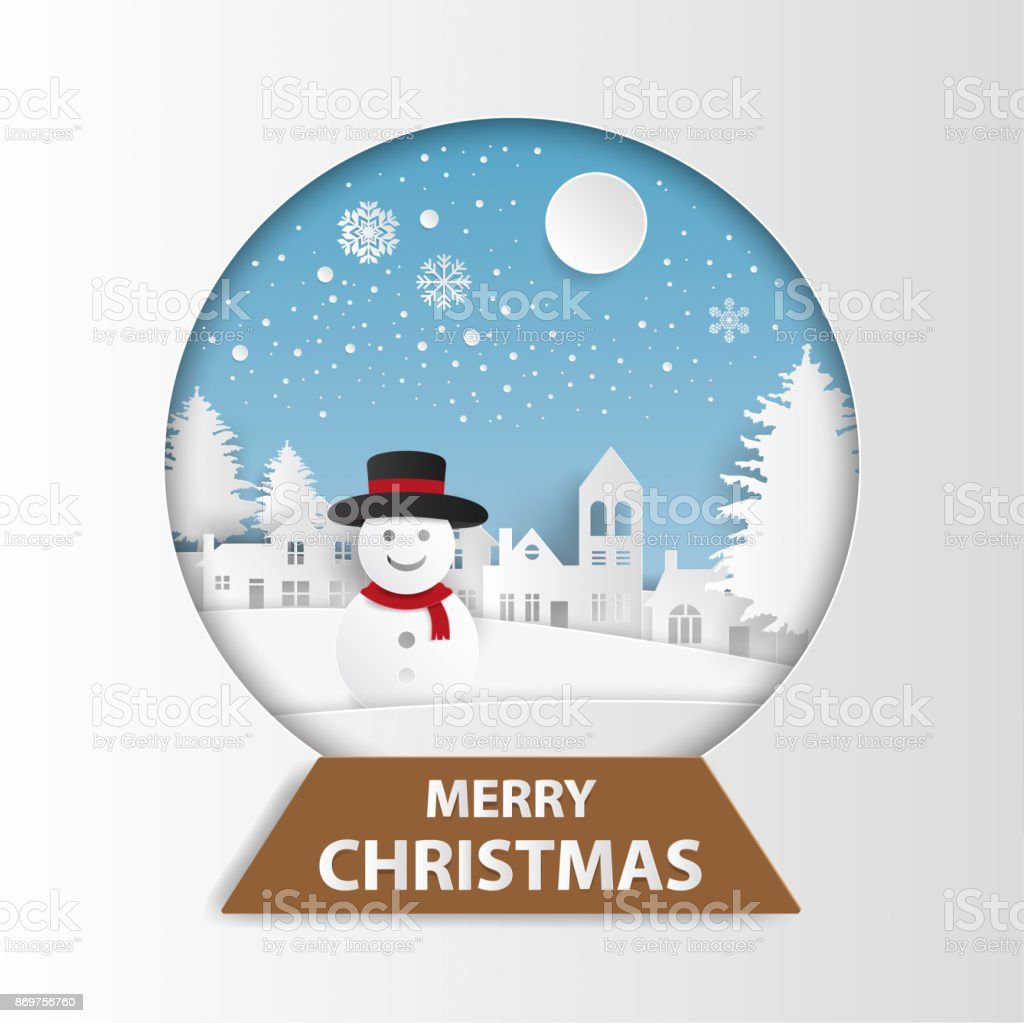 merry christmas and happy new year greeting card snowman in country village with full moon