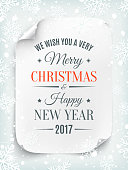 Merry Christmas and Happy New Year greeting card template. Curved, paper banner, scroll. Vector illustration.