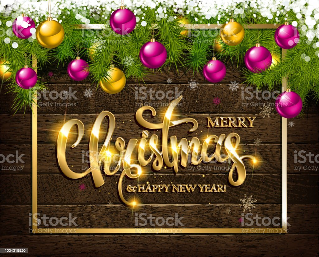 Merry Christmas And Happy New Year Greeting Card Stock Vector Art
