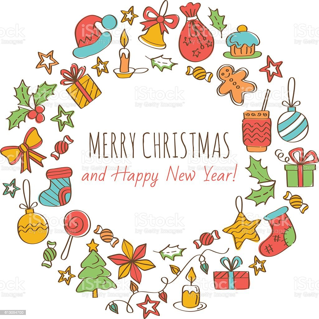 Merry Christmas And Happy New Year Greeting Card Stock ...  Merry Christmas...