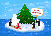 Merry Christmas and Happy New Year greeting card. Vector Illustration. Polar bear on the ice under the New Year tree with penguins drink coffee and fish.