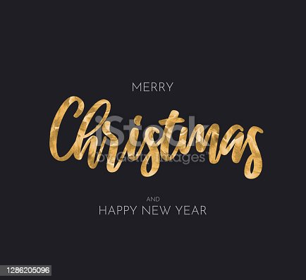 istock Merry Christmas and Happy New Year greeting card. Vector 1286205096