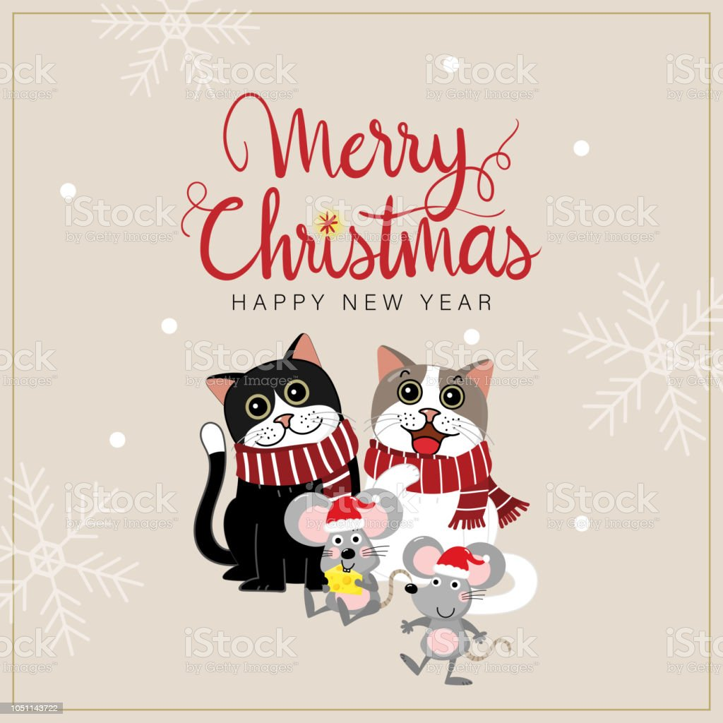 merry christmas and happy new year greeting card with cute cats and mouse animal cartoon