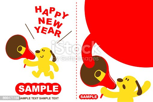 istock Merry Christmas and Happy New Year Greeting Card With Cute Dog Running And Talking Through A Megaphone 866471156