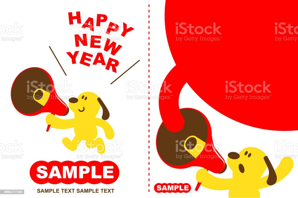 Merry Christmas and Happy New Year Greeting Card With Cute Dog Running And Talking Through A Megaphone vector art illustration