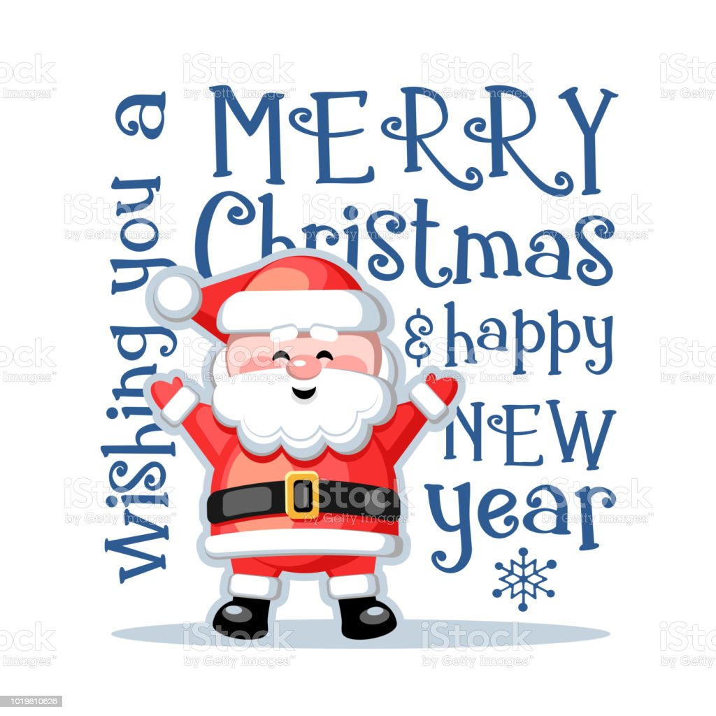 Merry Christmas And Happy New Year Greeting Card With Funny Santa ...
