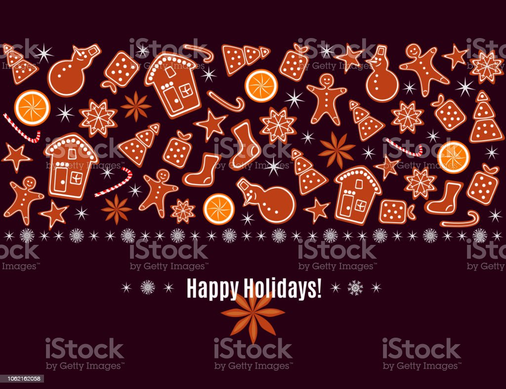 merry christmas and happy new year greeting card with gingerbread cookies orange sparkles and