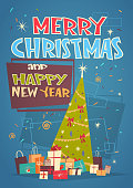 Merry Christmas And Happy New Year Greeting Card With Green Holiday Tree And Gifts Flat Vector Illustration