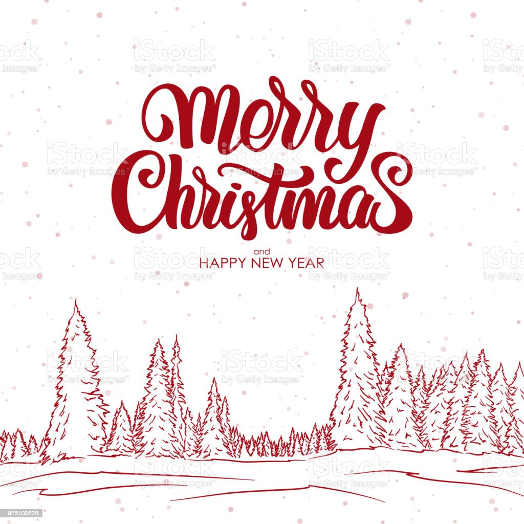 Merry Christmas And Happy New Year Greeting Card With Hand Drawn