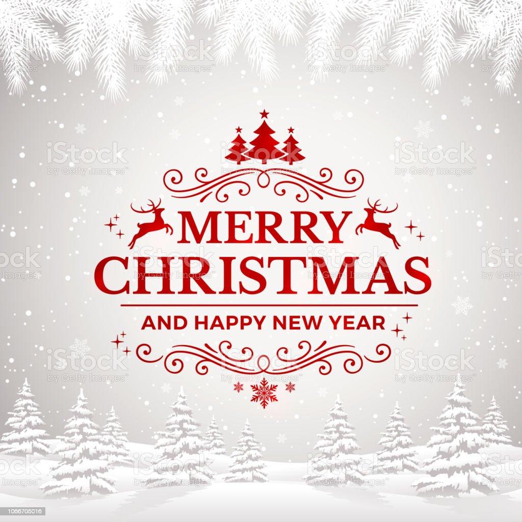 Feliz Natal e feliz ano novo cartão com flocos de neve e paisagem de inverno. - Vetor de Ano novo royalty-free