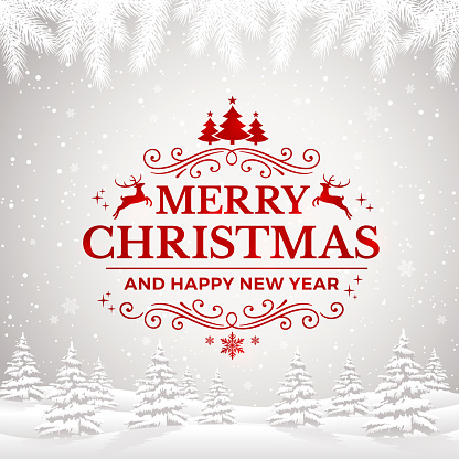 Merry Christmas and Happy New Year Greeting Card with winter landscape and snowflakes.