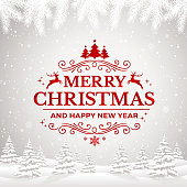 istock Merry Christmas and Happy New Year Greeting Card with winter landscape and snowflakes. 1066705016