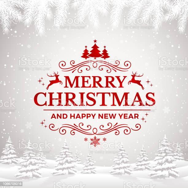 Vetores de Feliz Natal E Feliz Ano Novo Cartão Com Flocos De Neve E Paisagem De Inverno e mais imagens de Ano novo