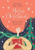 Merry christmas and happy new year greeting card with woman and hand drawn lettering phrase. Postcard or invitation template. Vector illustration
