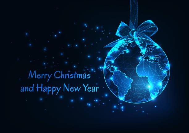 stockillustraties, clipart, cartoons en iconen met merry christmas en happy new year wenskaart met wereldbol als een hangende bal en lint bow. - new world