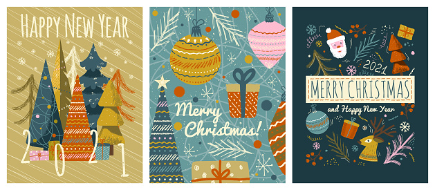 Merry christmas and happy new year greeting cards template. Vector set of winter holiday illustrations in vintage style. Christmas tree and toys, santa claus. 2021 new year hand drawn poster