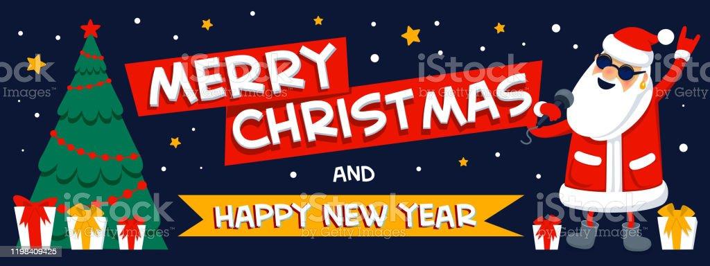 God jul och gott nytt år hälsning. Singing Santa Claus-rockstjärna med god jul inskription på mörk bakgrund. Xmas horisontell banderoll eller omslag. Platt stil vektor illustration.. - Royaltyfri Affisch vektorgrafik