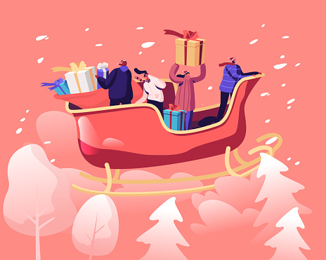 Merry Christmas and Happy New Year Greetings. Santa Claus Helpers Riding Reindeer Sledge Flying at Sky Throwing Wrapped Gift Boxes Down to Ground. Winter Holidays Cartoon Flat Vector Illustration