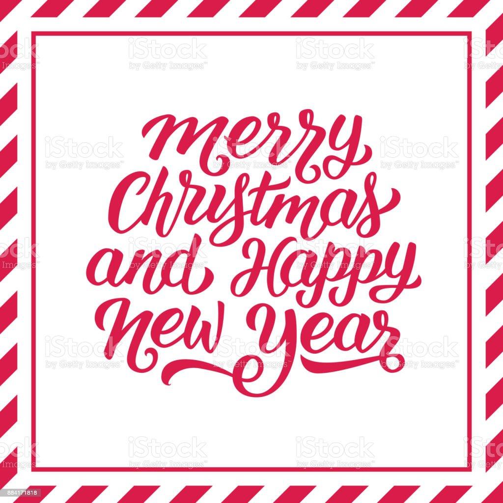Frohe Weihnachten Und Happy New Year Hand Schriftzug In Rot Und Weiß ...