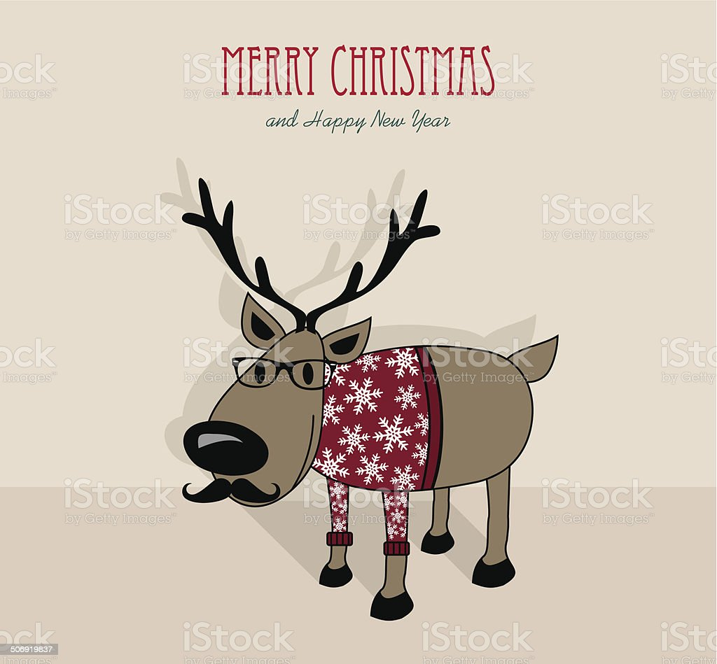merry christmas and happy new year hipster reindeer royalty free merry christmas and happy new