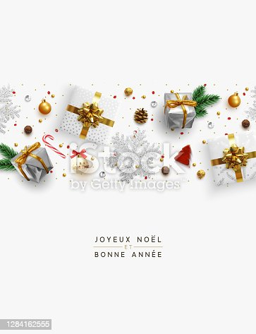 istock Merry Christmas and Happy New Year. Holiday decoration the border of realistic objects flat top view. Christmas composition with decorative elements of design. Xmas greeting card. Vector illustration 1284162555