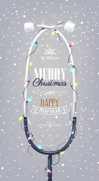 Merry Christmas and Happy new year holiday medical background with stethoscope Merry Christmas and Happy new year holiday medical background with stethoscope, Christmas lights and snowflakes. Vector illustration hospital background stock illustrations