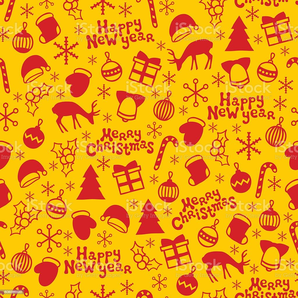 Merry Christmas And Happy New Year Holiday Seamless Pattern ...
