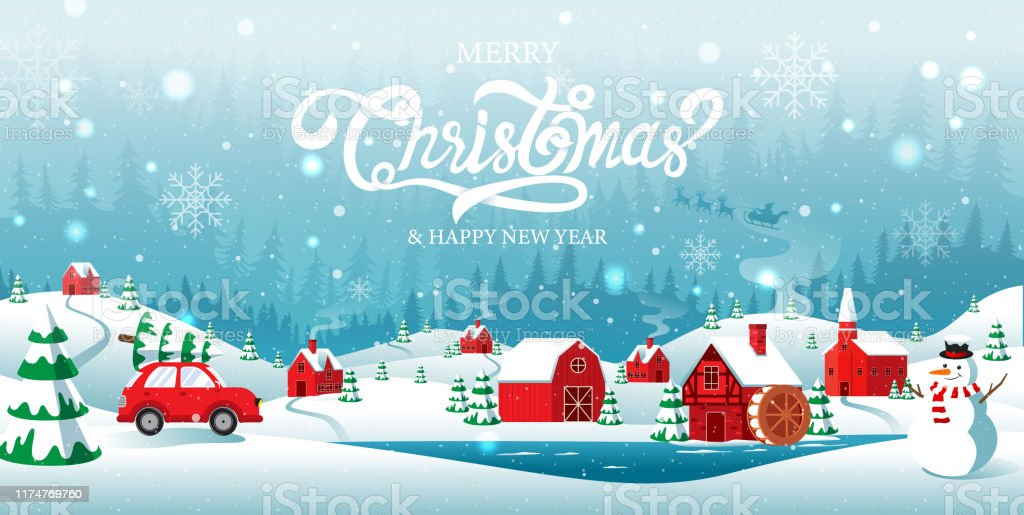 Pay Car Payment For A Year If It Snowed On Christmas Day 2020 Merry Christmas And Happy New Year Home Town In The Forrest Winter