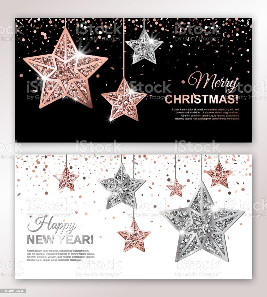 merry christmas and happy new year horizontal banners set with rose gold and silver hanging stars