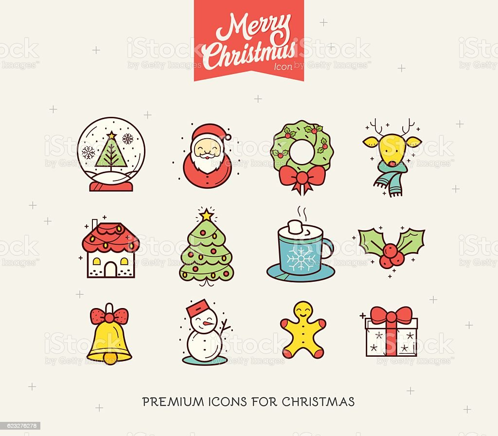 Merry Christmas And Happy New Year Icon Collection Stock Illustration - Download Image Now - iStock