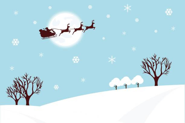 Merry Christmas and Happy New Year. Illustration of Santa Claus on the sky coming to City ,paper art and digital craft style Merry Christmas and Happy New Year. Illustration of Santa Claus on the sky coming to City ,paper art and digital craft style sled stock illustrations
