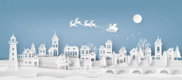 Merry Christmas and Happy New Year. Illustration of Santa Claus on the sky coming to City ,paper art and craft style Merry Christmas and Happy New Year. Illustration of Santa Claus on the sky coming to City ,paper art and cut  style village stock illustrations
