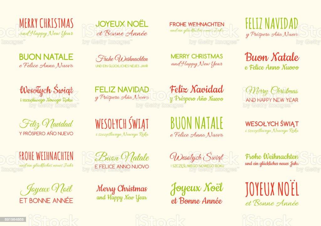 Frohe Weihnachten Und Frohes Neues Jahr In Verschiedenen Sprachen