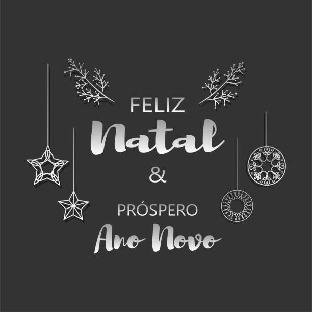 Merry Christmas and Happy New Year in Portuguese vector illustraton Merry Christmas and Happy New Year in Portuguese vector illustraton. Lettering and ornaments background. ano novo stock illustrations