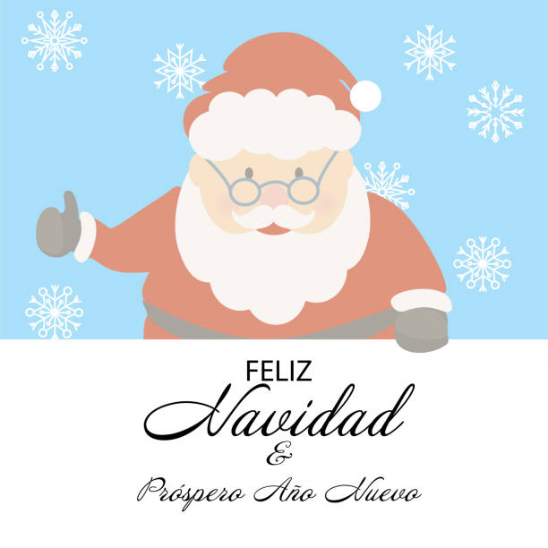 Merry Christmas and Happy New Year in Spanish language Merry Christmas and Happy New Year in Spanish language. Cute Santa Claus cartoon style vector illustration. ano novo stock illustrations