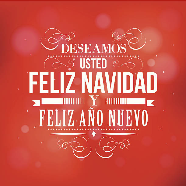 merry christmas and happy new year in spanish vector art illustration - Merry Christmas And Happy New Year In Spanish