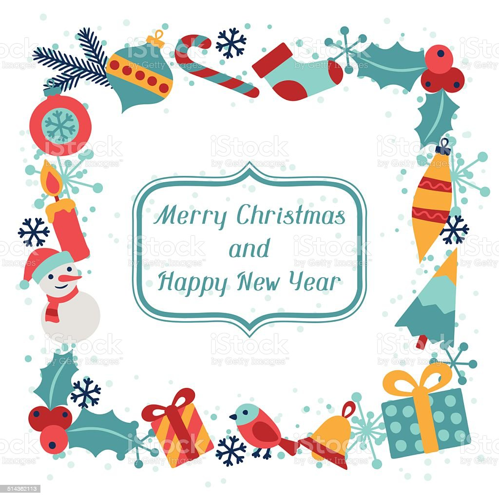 merry christmas and happy new year invitation card royalty free merry christmas and happy