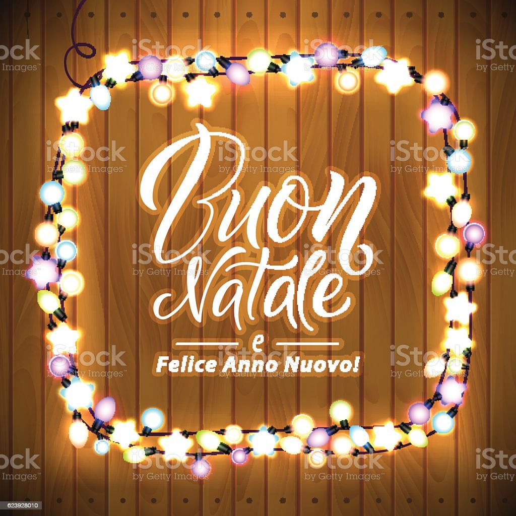 Merry Christmas And Happy New Year Italian Language Glowing Lights