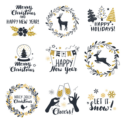 Merry Christmas and  Happy New Year labels.