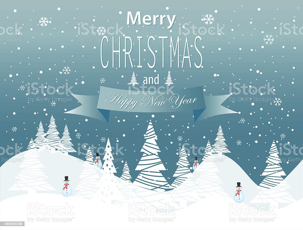 Merry Christmas and Happy New Year landscape on blue background vector art illustration