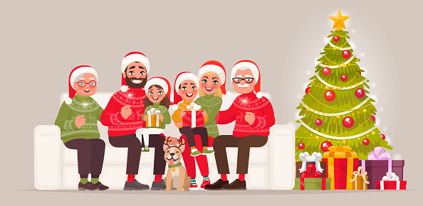 Merry Christmas And Happy New Year Large Family Sitting On ...