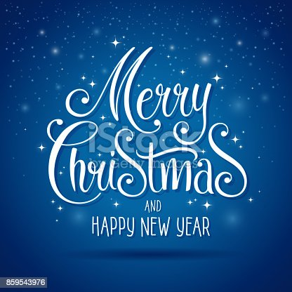 Christmas Greeting card. Merry Christmas vector lettering on blue background. Happy new year message.