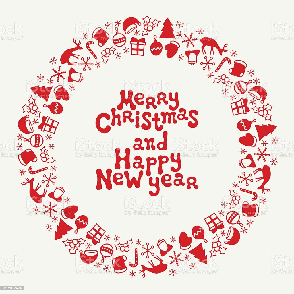 Merry Christmas And Happy New Year Lettering Greeting Card ...