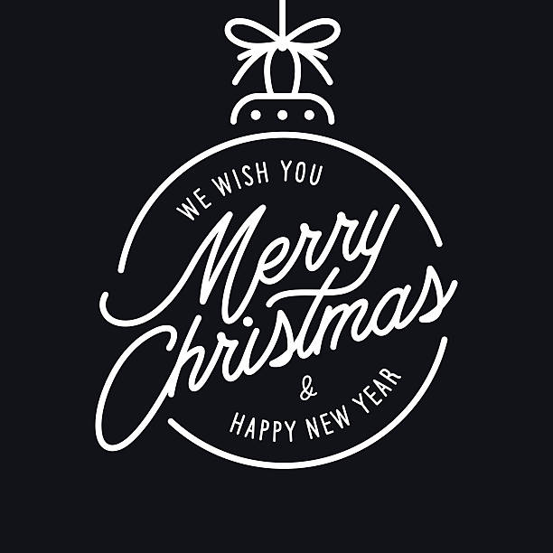 merry christmas and happy new year lettering template. monochrome greeting - weihnachten stock-grafiken, -clipart, -cartoons und -symbole