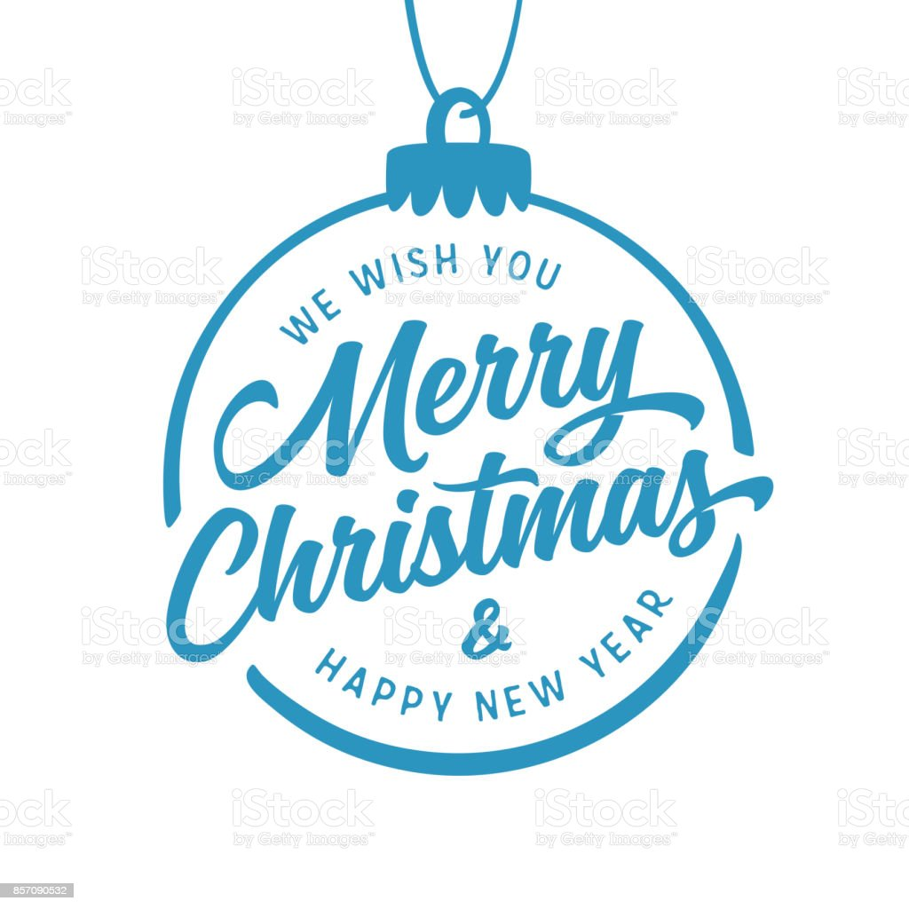 merry christmas and happy new year lettering template vector vintage illustration royalty free