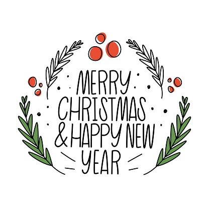 Merry Christmas and happy new year. Lettering, twigs and red berry