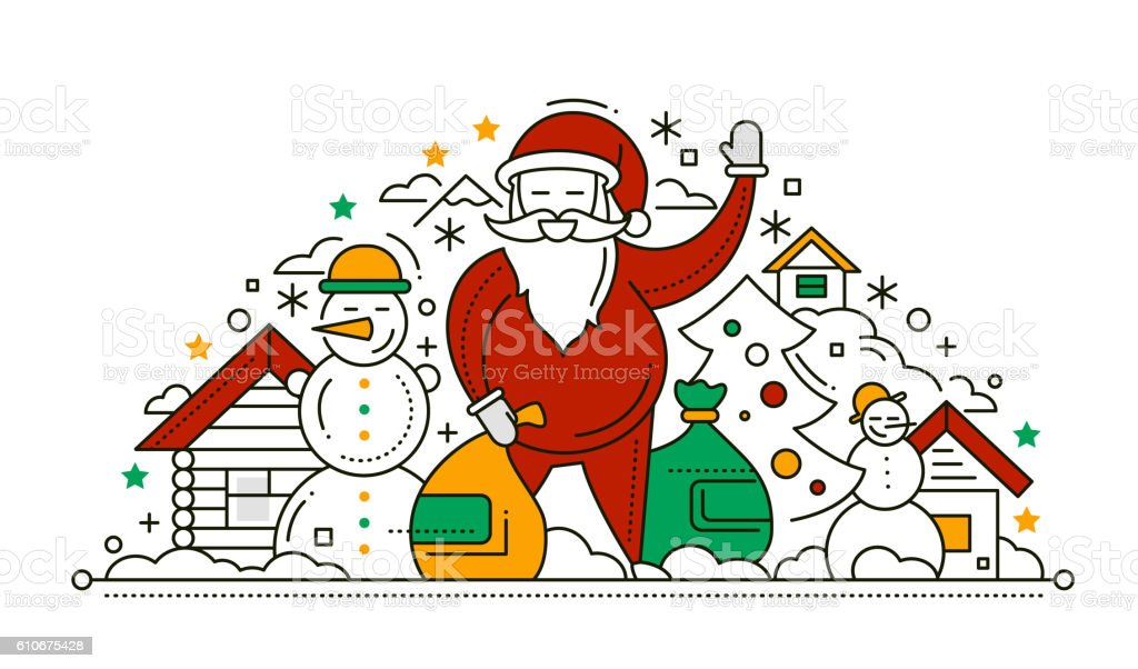 Merry Christmas And Happy New Year Line Design Card Stock Vector Art ...